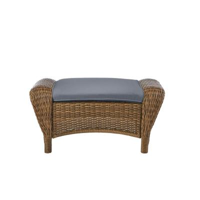 Beacon Park Brown Wicker Outdoor Patio Ottoman with CushionGuard Steel Blue Cushions
