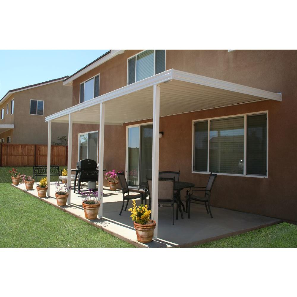 Integra 20 ft. x 8 ft. White Aluminum Attached Solid Patio Cover with 4 Posts (20 lbs. Live Load)
