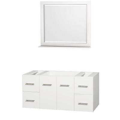 Centra 47 in. Vanity Cabinet with Mirror in White