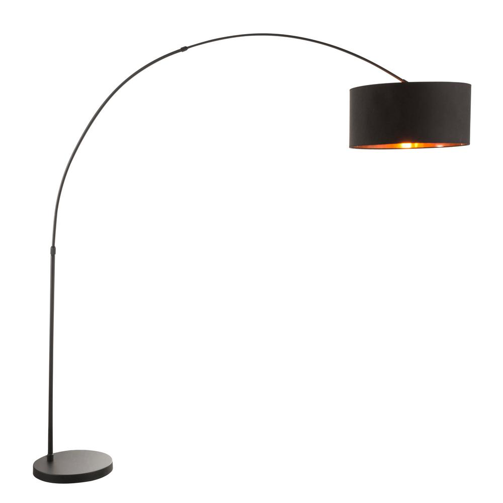 Lumisource Salon 76 in. Black Metal Floor Lamp with Black and Copper Shade
