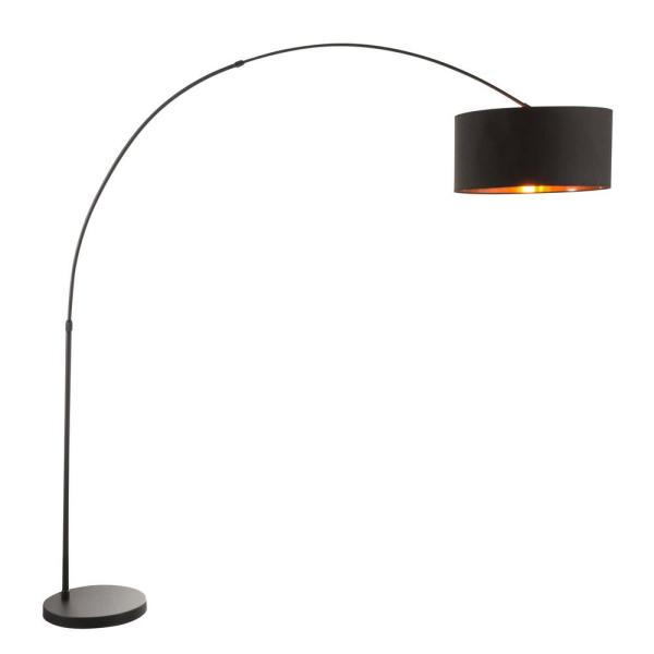 Salon 76 in. Black Metal Floor Lamp with Black and Copper Shade