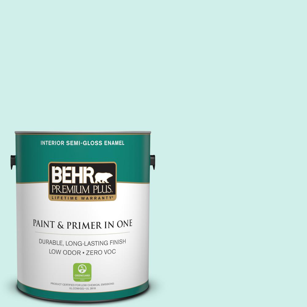 1-gal. #490A-1 Teal Ice Zero VOC Semi-Gloss Enamel Interior Paint