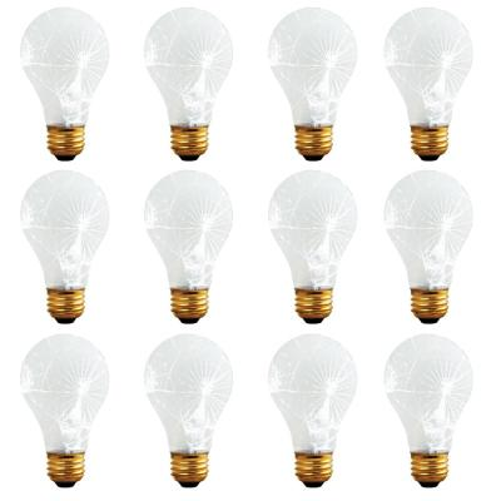 60-Watt A19 Frost Tough Coat Dimmable Warm White Light Incandescent Light Bulb (12-Pack)