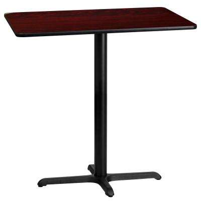 24 in. x 42 in. Rectangular Black and Mahogany Laminate Table Top with 22 in. x 30 in. Bar Height Table Base