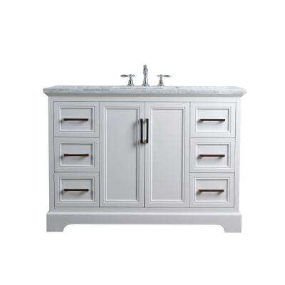 48 in. Ariane Single Sink Vanity in White with Marble Vanity Top in Carrara with White Basin