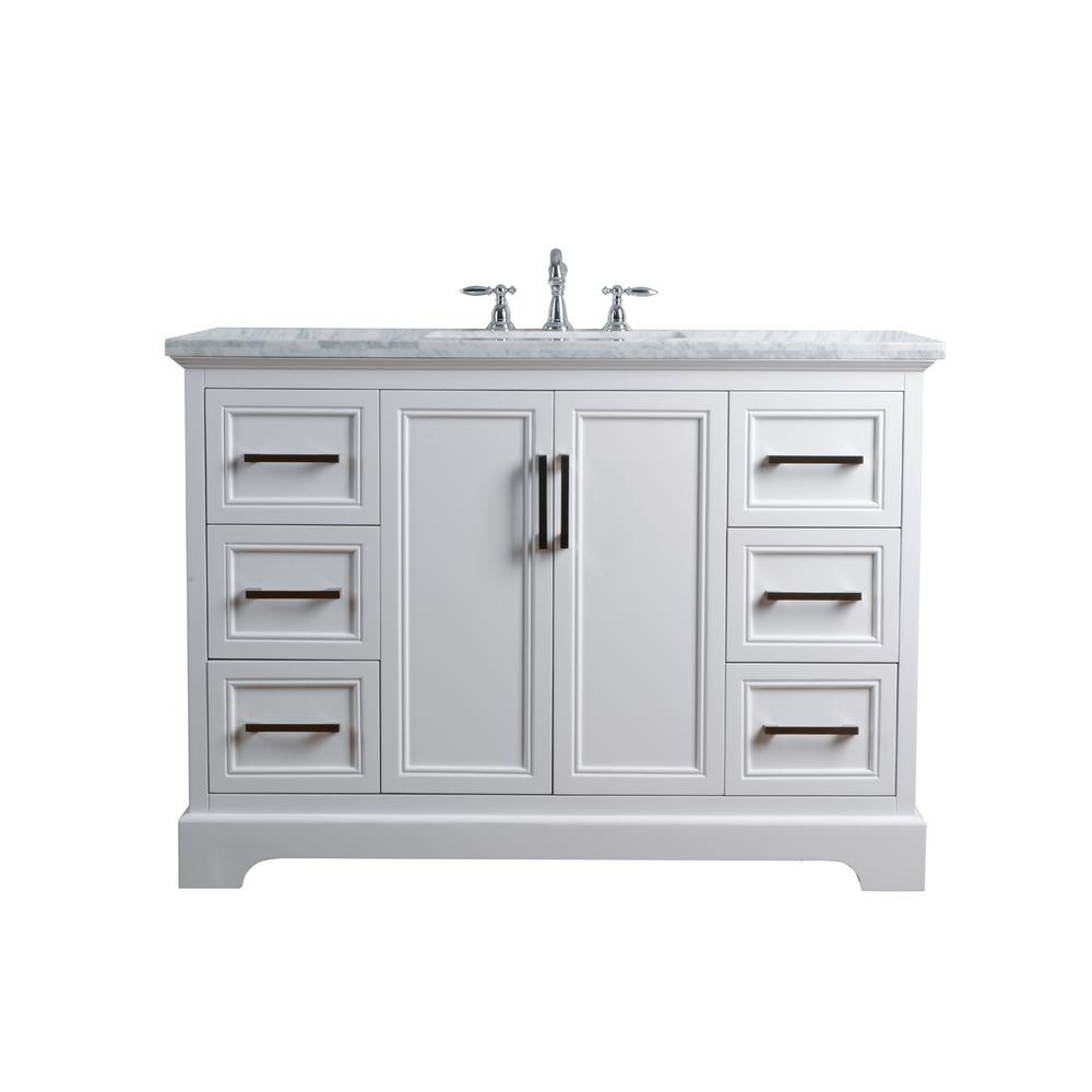 Stufurhome 48 In Ariane Single Sink Vanity In White With Marble Vanity Top In Carrara With