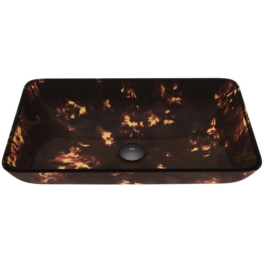 VIGO Brown And Gold Fusion Handmade Glass Rectangular Vessel Bathroom Sink in Brown And Gold Fusion was $99.9 now $79.9 (20.0% off)