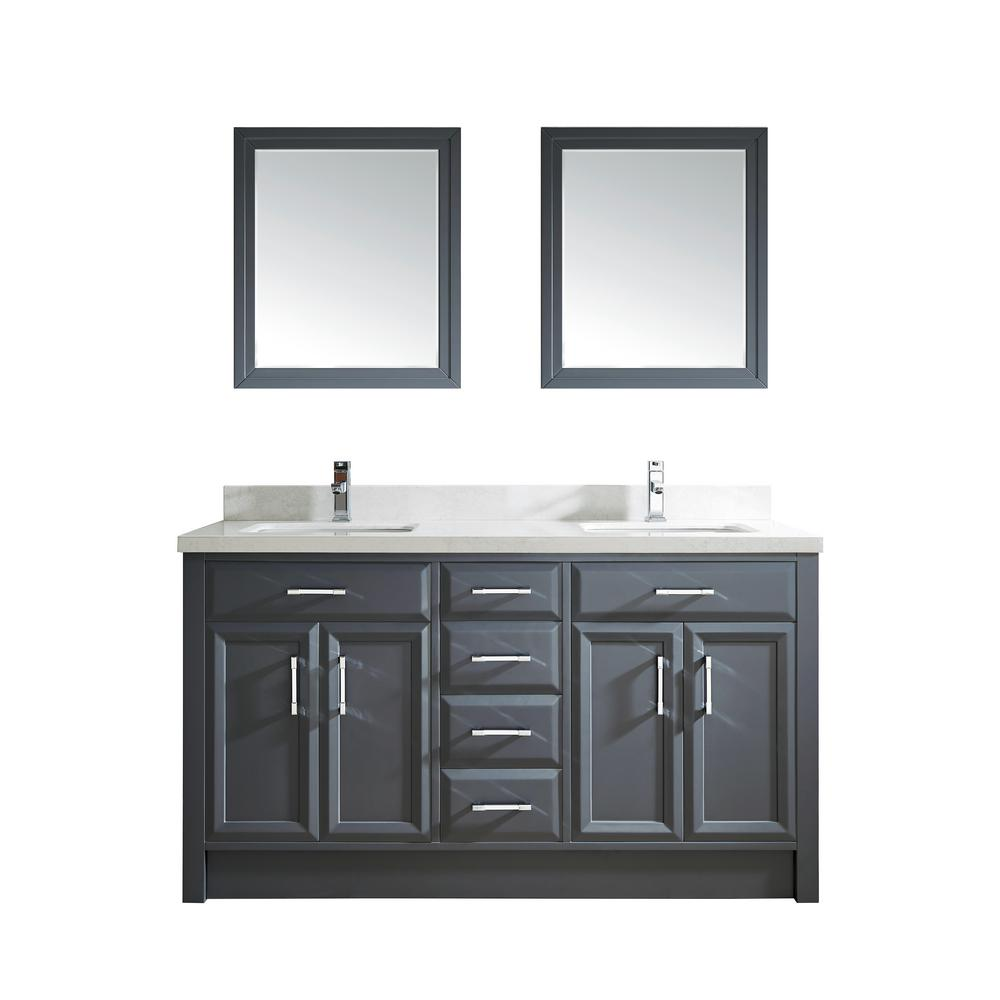 Studio Bathe Calais 63 in. W x 22 in. D Vanity in Pepper Gray with Solid Surface Vanity Top in White with White Basin and Mirror