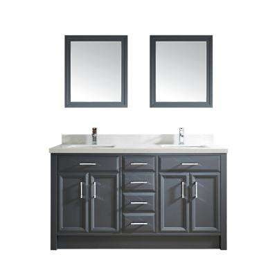 Calais 63 in. W x 22 in. D Vanity in Pepper Gray with Solid Surface Vanity Top in White with White Basin and Mirror