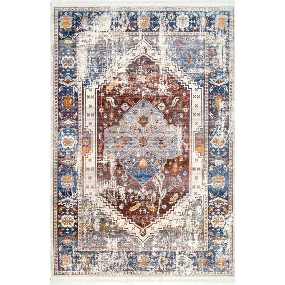 nuLOOM Chikita Medallion Fringe Rust 6 ft. 7 in. x 9 ft. 4 in. Area Rug