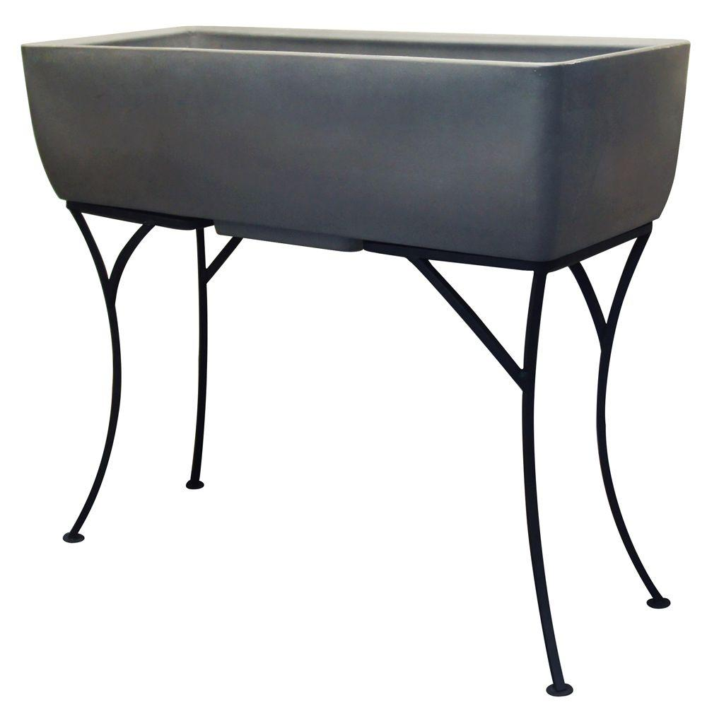 RTS Home Accents 36 in. x 15 in. Graphite Elevated Planter with ...