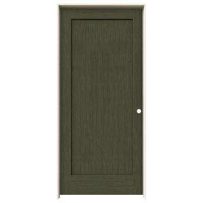 36 in. x 80 in. Madison Juniper Stain Left-Hand Solid Core Molded Composite MDF Single Prehung Interior Door