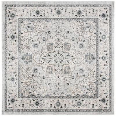 Isabella Light Gray/Gray 7 ft. x 7 ft. Square Area Rug