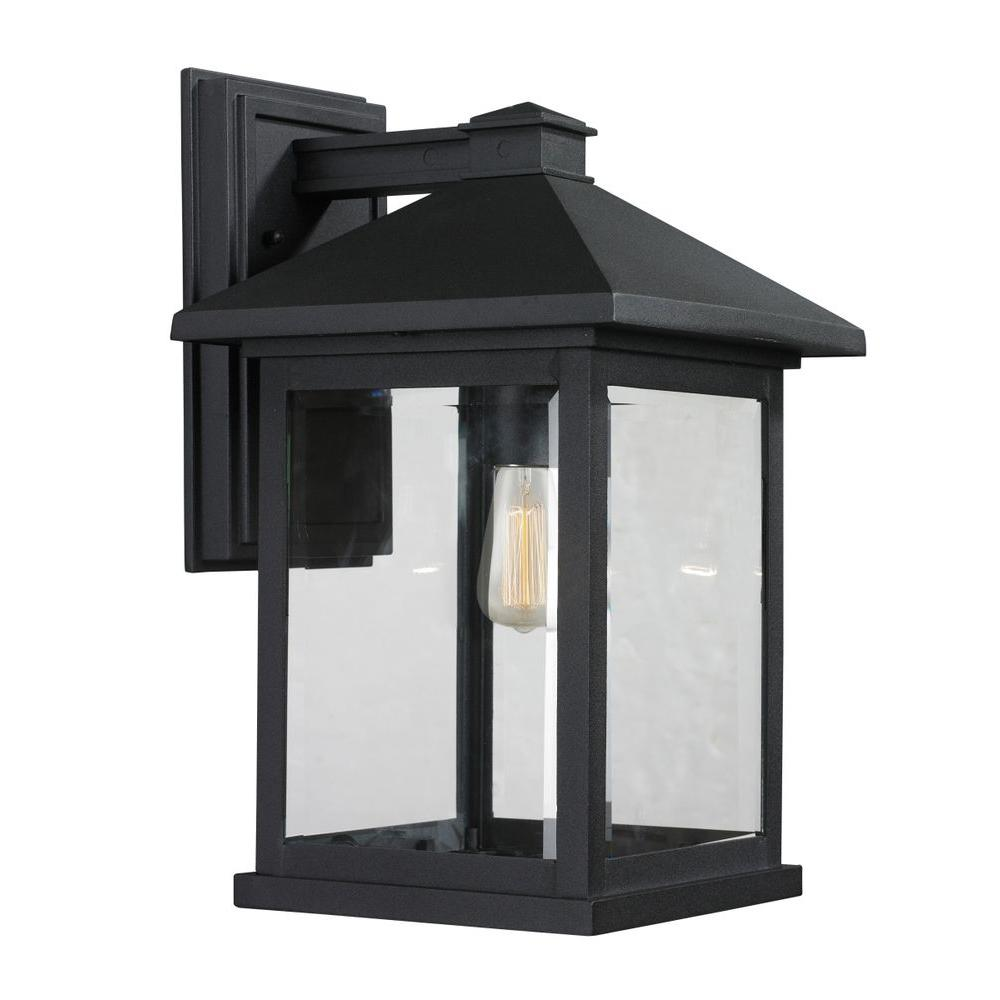 Filament design malone 1 light black outdoor sconce cli jb037692 the home depot for Black exterior sconce