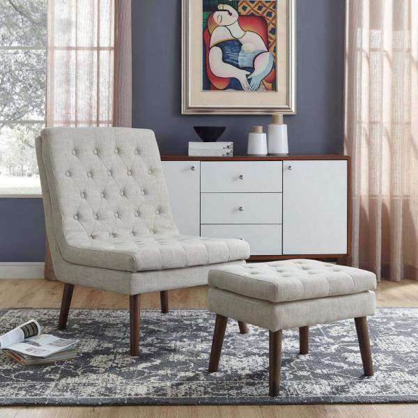 Modify Upholstered Lounge Chair and Ottoman in Beige