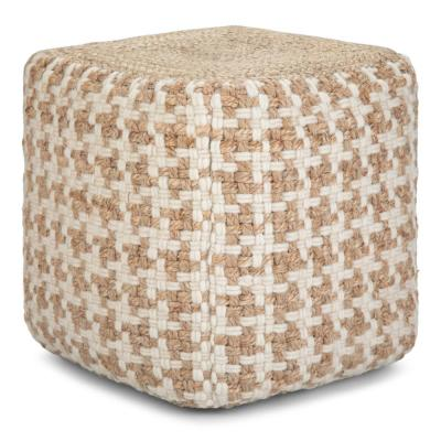 Cullen Transitional Natural Woven Wool and Jute Cube Pouf