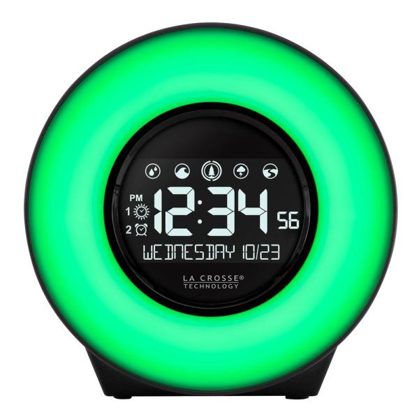 Color Mood Light Desk Clock with 5-Soothing Nature Sounds and USB port
