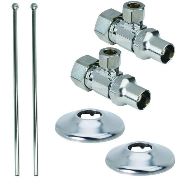 Faucet Kit: 1/2 in. Nom Comp x 3/8 in. O.D. Comp Brass Multi-Turn Angle Valve with Loose Key, 15 in. Riser and Flange