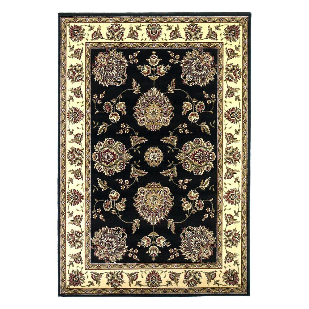 Kas Rugs Classic Mahal Black/Ivory 5 ft. 3 in. x 7 ft. 7 in. Area Rug