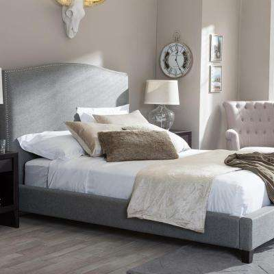 Aisling Transitional Gray Fabric Upholstered King Size Bed