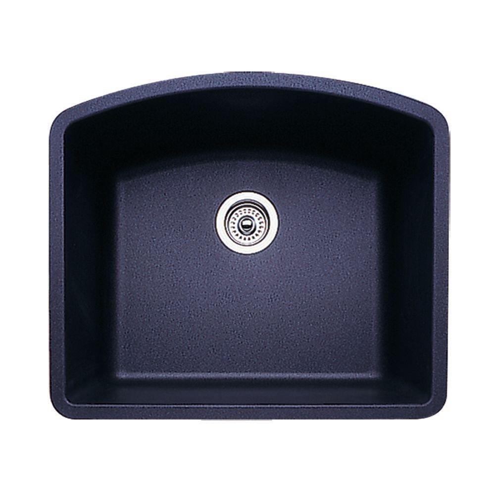 Diamond Undermount Granite 24 in. Single Bowl Kitchen Sink in Anthracite