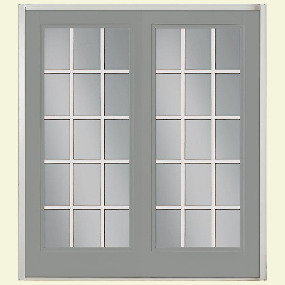 Masonite 60 in. x 80 in. Silver Cloud Prehung Right-Hand Inswing 15 Lite Steel Patio Door with Brickmold in Vinyl Frame