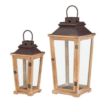 Home Decorators Collection Natural Wood Candle Hanging or Tabletop Lantern with Antiqued Bronze Metal Top (Set of 2)