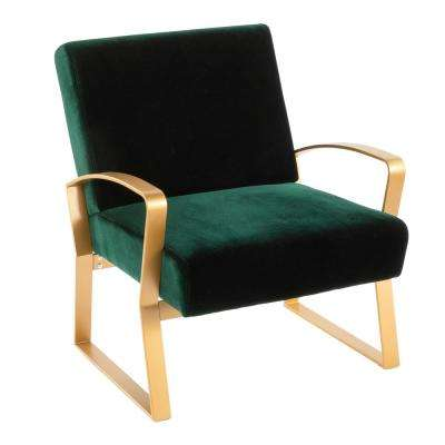 Henley Gold and Green Velvet Lounge Chair