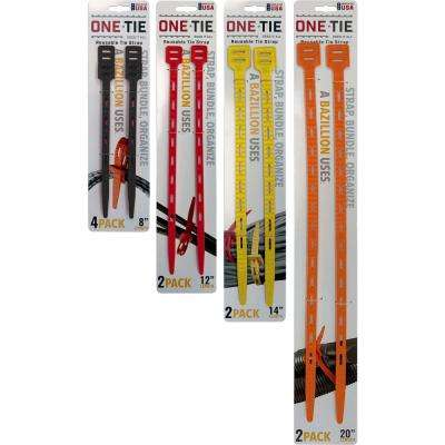 10-Piece Assorted Size Cable Ties, Multi-Color