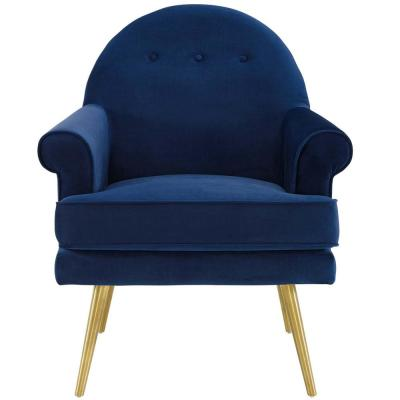 Revive Navy Tufted Button Accent Performance Velvet Armchair