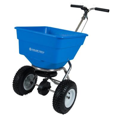 Commercial Stainless Steel Ice Melt Push Spreader with 13 in. Pneumatic Tires