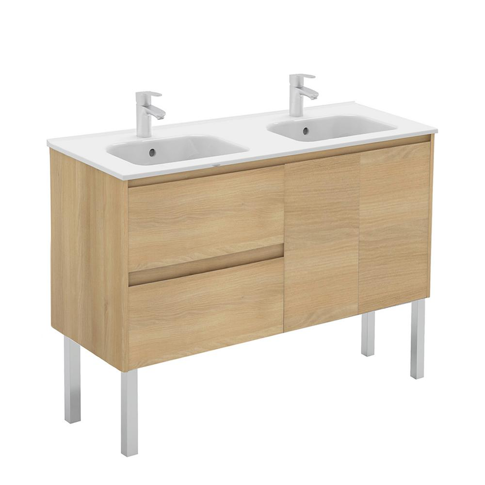 WS Bath Collections 47.5 in. W x 18.1 in. D x 32.9 in. H Bathroom Vanity in Nordic Oak with Vanity Top and Basin in White