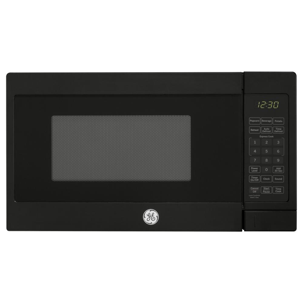 Ge 0 7 Cu Ft Small Countertop Microwave In Black Jes1072dmbb The Home Depot