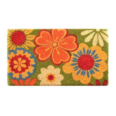 Outdoor Summer Flowers 1 ft. 6 in. x 2 ft. 6 in. Coir Door Mat