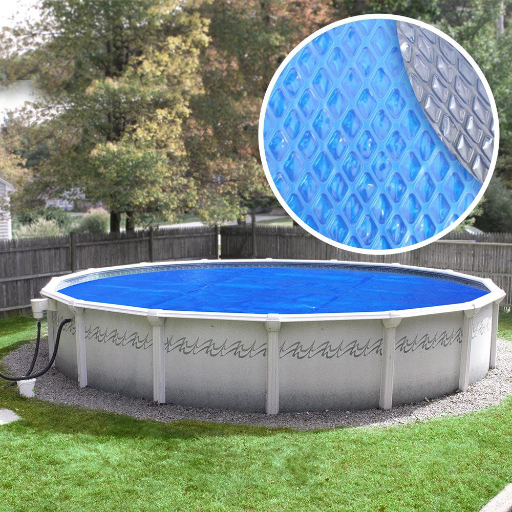 Heavy-Duty Space Age Diamond 5-Year 24 ft. Round Blue/Silver Solar Cover