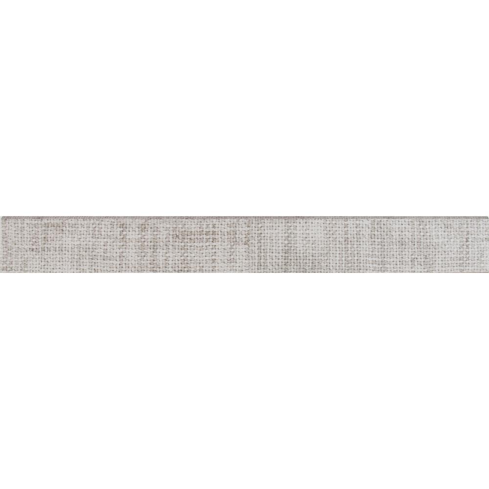 Tektile Crosshatch Gray 3 in. x 24 in. Glazed Porcelain Bullnose