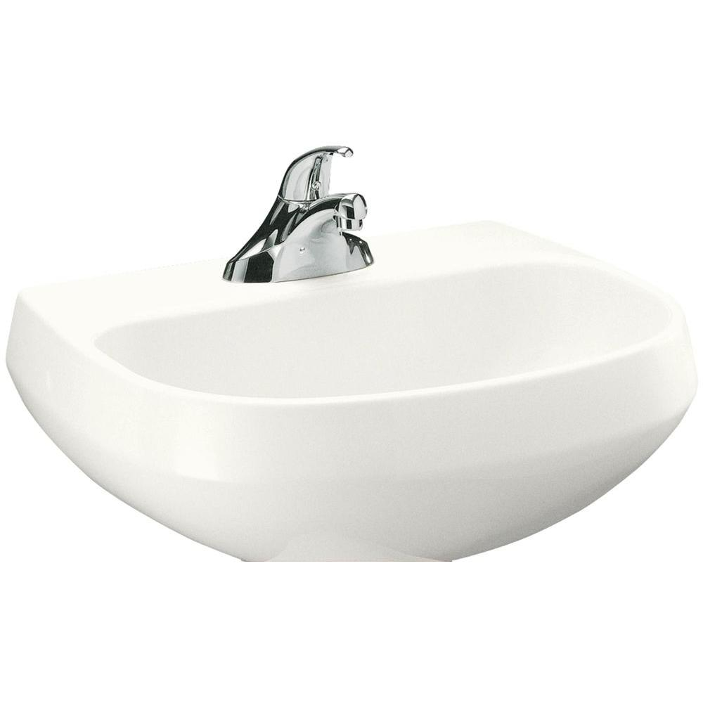 Wellworth Vitreous China Pedestal Sink Basin in White with Overflow Drain