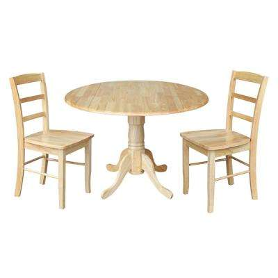 Solid Wood 3-Piece Natural Dropleaf Dining Set