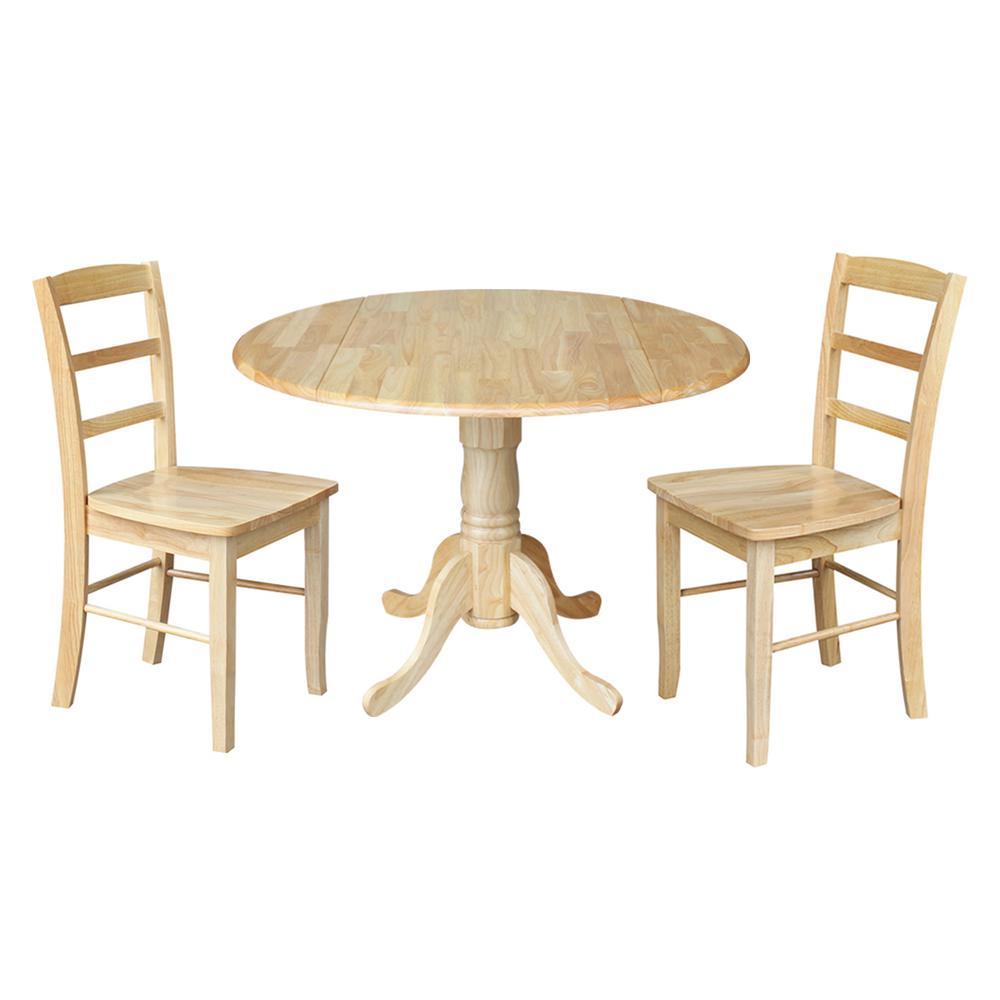 Solid Wood 3-Piece Natural Dropleaf Dining Set