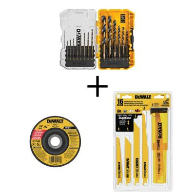 Black and Gold Drill Bit Set (14-Piece) with 4 in. Metal Cutting Wheel & Recip Saw Blade Set with Case (16-Piece)