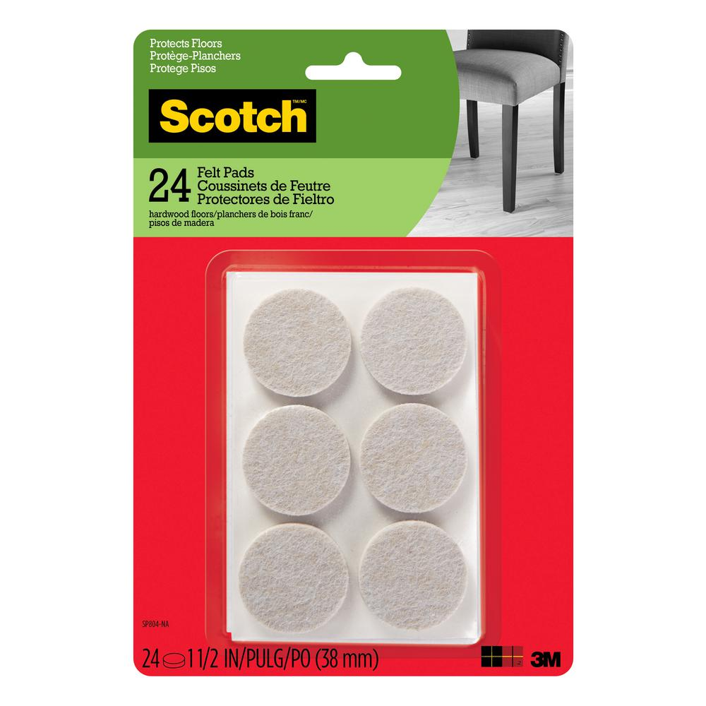 Scotch 1.5 in. Beige Round Surface Protection Felt Floor Pads ((24-Pack)(Case