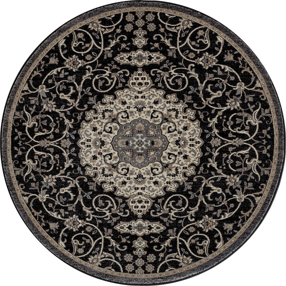 Art Carpet Dexter Calligraphy Black 8 ft. x 8 ft. Round Area Rug