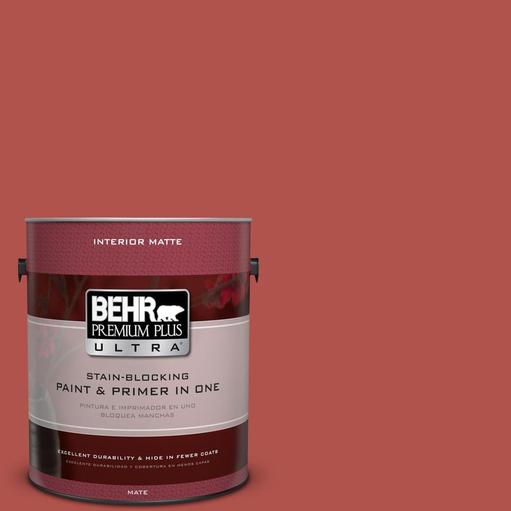 1 gal. #BIC-48 Fortune Red Matte Interior Paint and Primer in
