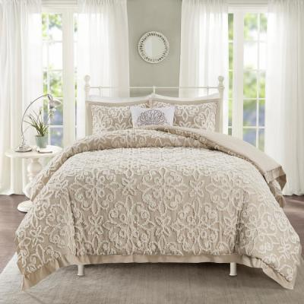 Sarah 4 piece Taupe Full/Queen Tufted Cotton Comforter set