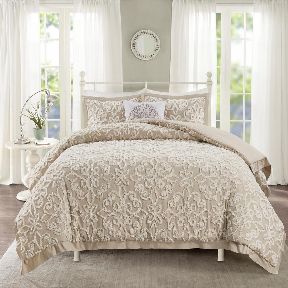 Sarah 4-Piece Taupe King/Cal King Tufted Cotton Comforter set