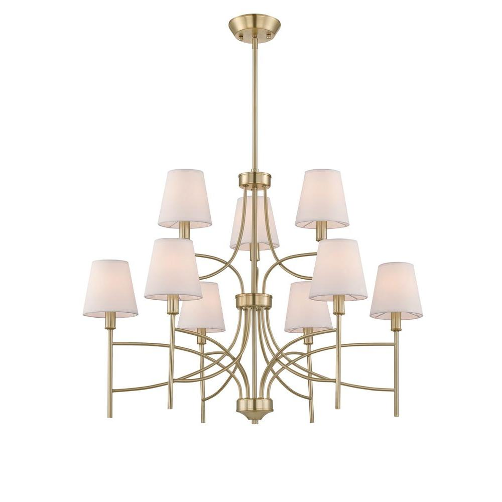 World imports millau collection 9 light satin gold chandelier with world imports millau collection 9 light satin gold chandelier with fabric shade mozeypictures Gallery