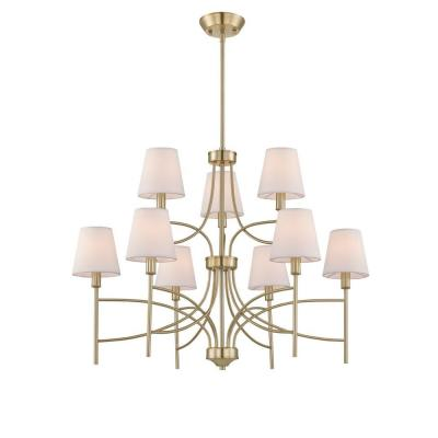 Millau Collection 9-Light Satin Gold Chandelier with Fabric Shade