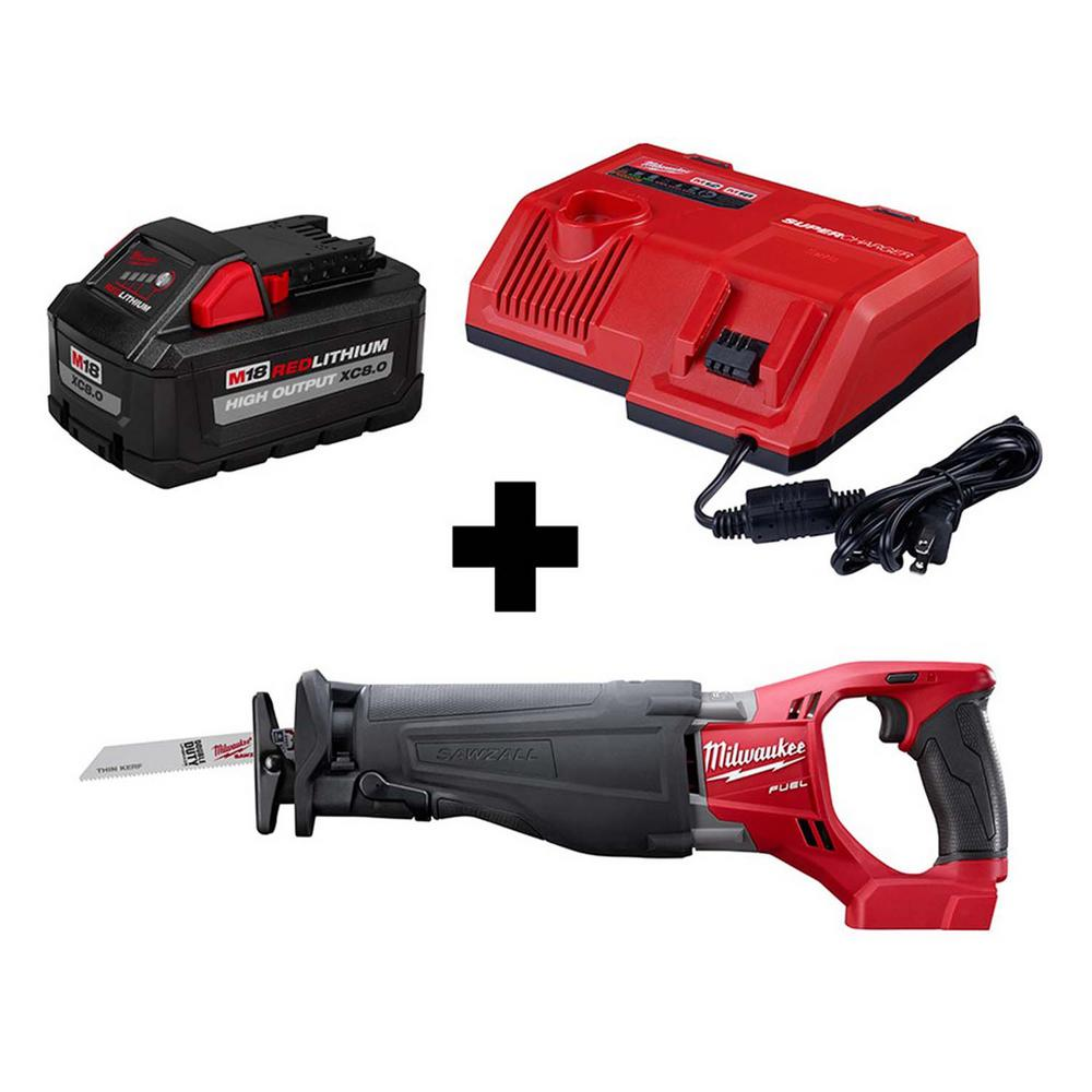 Milwaukee M18 FUEL 18-Volt Lithium-Ion Brushless Cordless SAWZALL Reciprocating Saw with Super Charger and 8.0 Ah Battery