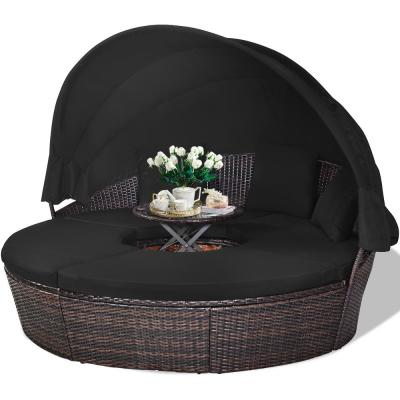 Brown 1-Piece Rattan Wicker Outdoor Patio Day Bed with Black Cushions