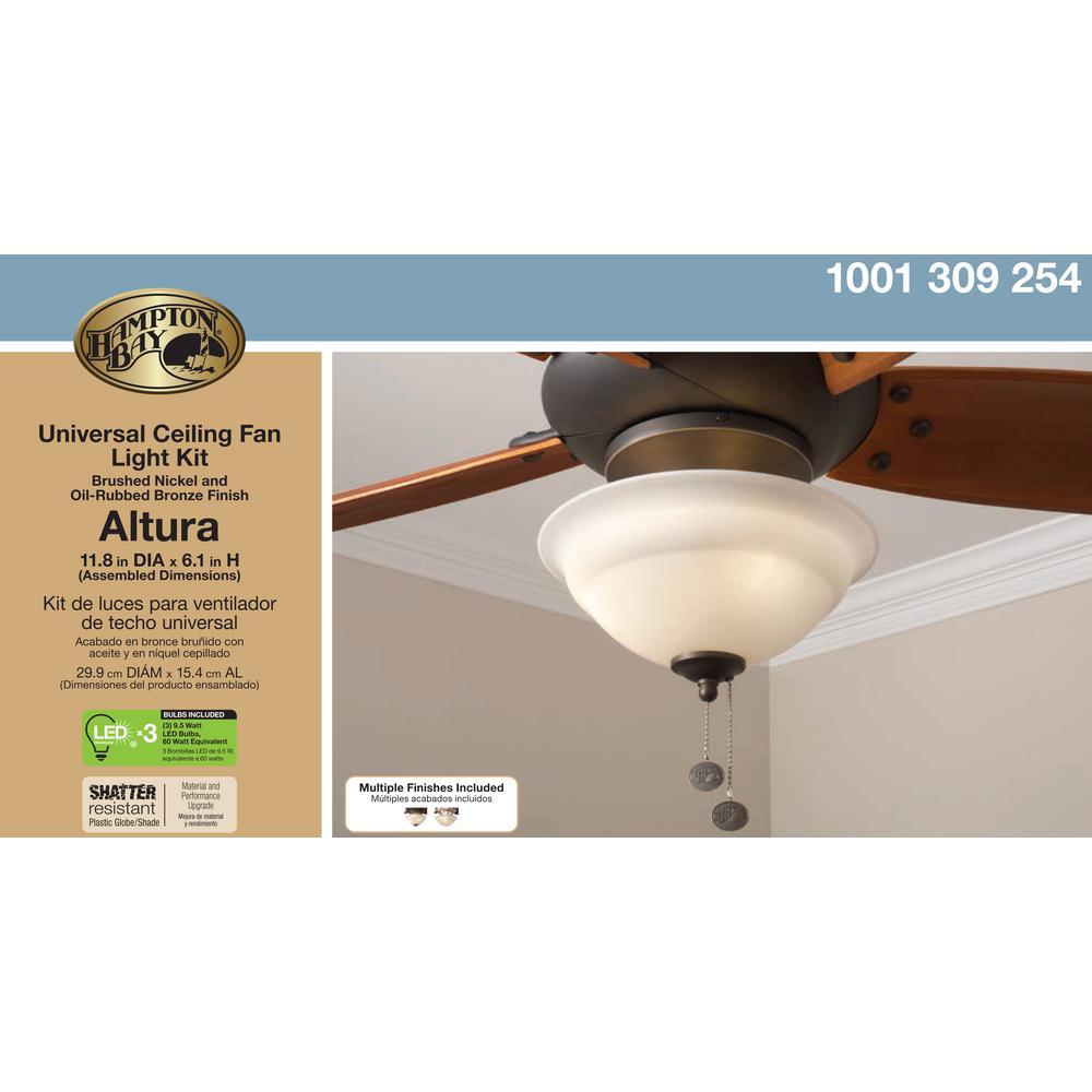 Hampton Bay Altura Led Universal Ceiling Fan Light Kit 91169 The Home Depot